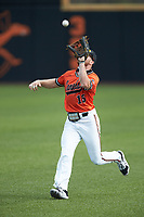 Campbell Camels right fielder Lawson Harrill (15) makes a running catch during the game against the Dayton Flyers at Jim Perry Stadium on February 28, 2021 in Buies Creek, North Carolina. The Camels defeated the Flyers 11-2. (Brian Westerholt/Four Seam Images)