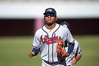 Peoria Javelinas center fielder Cristian Pache (27), of the Atlanta Braves organization, jogs off the field between innings of an Arizona Fall League game against the Mesa Solar Sox at Sloan Park on November 6, 2018 in Mesa, Arizona. Mesa defeated Peoria 7-5 . (Zachary Lucy/Four Seam Images)