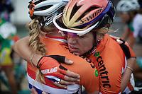 an emotional hug between Anna van der Breggen (NLD/Rabobank-Liv) & Ellen Van Dijk (NLD) after the finish line<br /> <br /> Elite Women Road Race<br /> UCI Road World Championships Richmond 2015 / USA
