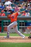 Syracuse Mets Rymer Liriano (28) hits a home run during an International League game against the Indianapolis Indians on July 17, 2019 at Victory Field in Indianapolis, Indiana.  Syracuse defeated Indianapolis 15-5  (Mike Janes/Four Seam Images)