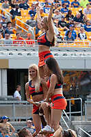 Syracuse cheerleaders perform during the game. The Pitt Panthers defeated the Syracuse Orange 44-37 in overtime at Heinz Field in Pittsburgh, Pennsylvania on October 6, 2018.