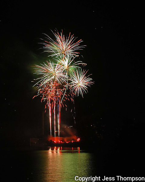 Fourth of July fireworks on the Llano River, TX