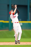 Shortstop Chase Jensen #17 of the Houston Cougars catches a pop fly against the Baylor Bears at Minute Maid Park on March 4, 2011 in Houston, Texas.  Photo by Brian Westerholt / Four Seam Images
