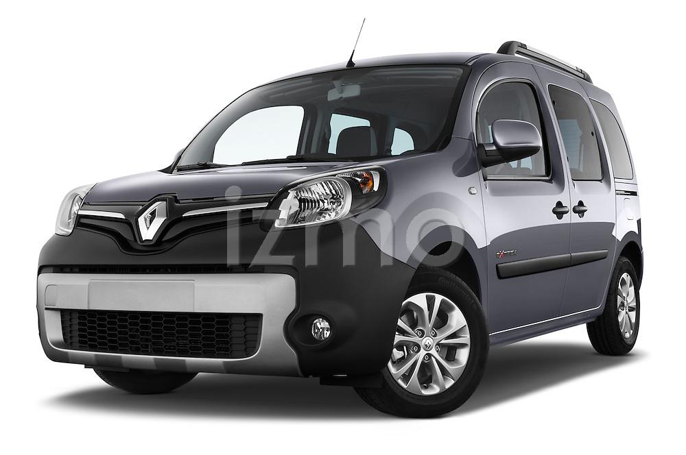 Low aggressive front three quarter view of a 2013 - 2014 Renault Kangoo eXtrem Mini MPV.