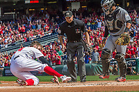 20 September 2015: Washington Nationals outfielder Bryce Harper is called safe by umpire Adam Hamari on a home plate collision with Miami Marlins catcher Tomas Telis on a Jayson Werth double in the first inning at Nationals Park in Washington, DC. The Nationals defeated the Marlins 13-3 to take the final game of their 4-game series. Mandatory Credit: Ed Wolfstein Photo *** RAW (NEF) Image File Available ***