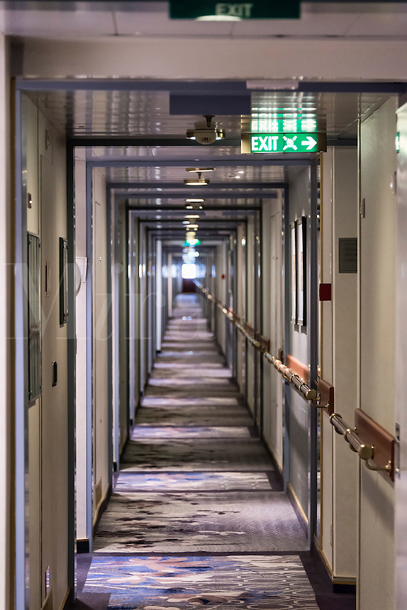Cabins and hallway of a cruise ship.
