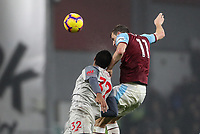 Burnley's Chris Wood competing with Liverpool's Joel Matip<br /> <br /> Photographer Andrew Kearns/CameraSport<br /> <br /> The Premier League - Burnley v Liverpool - Wednesday 5th December 2018 - Turf Moor - Burnley<br /> <br /> World Copyright © 2018 CameraSport. All rights reserved. 43 Linden Ave. Countesthorpe. Leicester. England. LE8 5PG - Tel: +44 (0) 116 277 4147 - admin@camerasport.com - www.camerasport.com