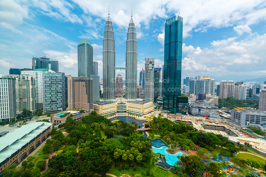 Petronas Towers from Traders Hotel, KLCC Park in foreground, Kuala Lumpur, Malaysia.