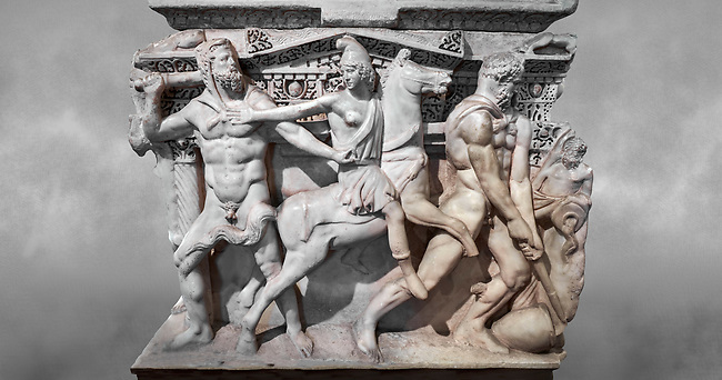 """Close up of a end of a Roman relief sculpted Hercules sarcophagus with kline couch lid, """"Columned Sarcophagi of Asia Minor"""" style typical of Sidamara, 250-260 AD, Konya Archaeological Museum, Turkey."""
