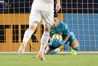 CARSON, CA - SEPTEMBER 21: David Bingham #1 of the Los Angeles Galaxy makes a save during a game between Montreal Impact and Los Angeles Galaxy at Dignity Health Sports Park on September 21, 2019 in Carson, California.