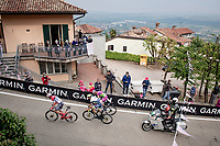 remaining breakaway group, including eventual stage winner Taco van der Hoorn (NED/Intermarché - Wanty - Gobert), up the 15% climb in Guarene, 15 kilometers from the finish <br /> <br /> 104th Giro d'Italia 2021 (2.UWT)<br /> Stage 3 from Biella to Canale (190km)<br /> <br /> ©kramon