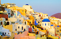 Buildings on the mountain cliffs of the small isolated town of Oia, Santorini, Greece