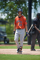 GCL Astros James Nix (59) bats during a Gulf Coast League game against the GCL Nationals on August 9, 2019 at FITTEAM Ballpark of the Palm Beaches training complex in Palm Beach, Florida.  GCL Nationals defeated the GCL Astros 8-2.  (Mike Janes/Four Seam Images)