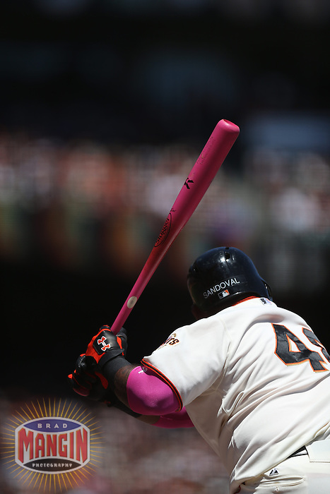 SAN FRANCISCO, CA - MAY 12:  Pablo Sandoval #48 of the San Francisco Giants bats with a pink bat in honor of Mother's Day and breast cancer awareness against the Atlanta Braves during the game at AT&T Park on Sunday, May 12, 2013 in San Francisco, California. Photo by Brad Mangin