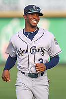 Kane County Cougars Tra Holmes (3) during warmups before a Midwest League game against the Quad Cities River Bandits on August 24, 2019 at Modern Woodmen Park in Davenport, Iowa.  Quad Cities defeated defeated Kane County 8-2.  (Travis Berg/Four Seam Images)