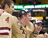 Tommy Cross (BC - 4), Bill Arnold (BC - 24), Barry Almeida (BC - 9) - The Boston College Eagles defeated the Boston University Terriers 3-2 (OT) to win the 2012 Beanpot championship on Monday, February 13, 2012, at TD Garden in Boston, Massachusetts.