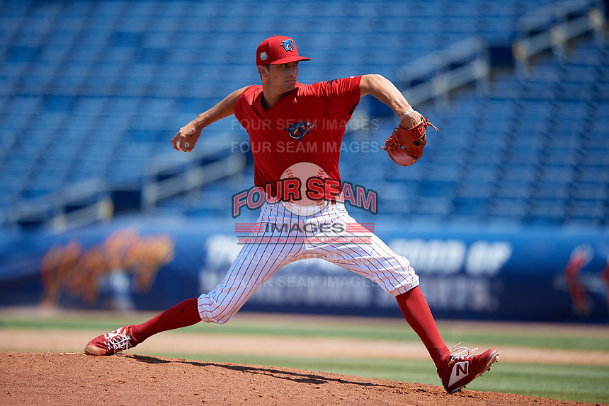 Clearwater Threshers relief pitcher Connor Brogdon (44) during a Florida State League game against the Florida Fire Frogs on April 24, 2019 at Spectrum Field in Clearwater, Florida.  Clearwater defeated Florida 13-1.  (Mike Janes/Four Seam Images)