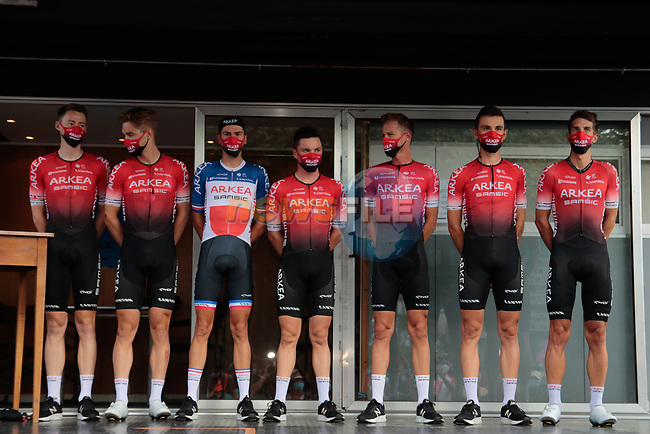 Team Arkea-Samsic at sign on before Stage 3 of the Route d'Occitanie 2020, running 163.5km from Saint-Gaudens to Col de Beyrède, France. 3rd August 2020. <br /> Picture: Colin Flockton | Cyclefile<br /> <br /> All photos usage must carry mandatory copyright credit (© Cyclefile | Colin Flockton)