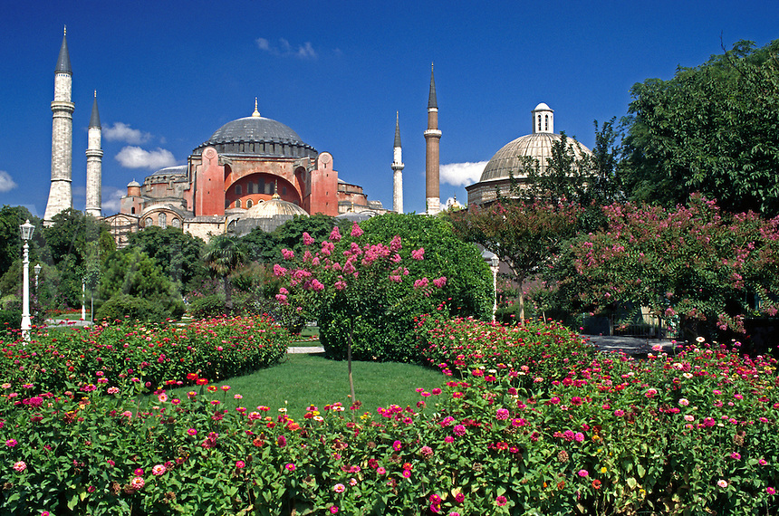 Flower gardens & The Ayasofya Camii (St Sophia Cathedral) - Byzantine church originally built in 537 AD, & eventually converted to a Mosque - Istanbul, turkey