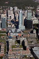 aerial photograph of the Apartments Jardins Windsor toward Bell Center the sports arena and financial district high rises, Montreal, Quebec, Canada | photo aérienne des Appartements Jardins Windsor vers le Centre Bell l'arène sportive et les gratte-ciel du quartier financier, Montréal, Québec, Canada