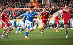 Aberdeen v St Johnstone…27.02.16   SPFL   Pittodrie, Aberdeen<br />Steven MacLean's shot is saved by Scott Brown<br />Picture by Graeme Hart.<br />Copyright Perthshire Picture Agency<br />Tel: 01738 623350  Mobile: 07990 594431