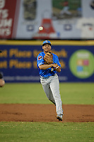Myrtle Beach Pelicans shortstop Aramis Ademan (11) throws to first base during a Carolina League game against the Potomac Nationals on August 14, 2019 at Northwest Federal Field at Pfitzner Stadium in Woodbridge, Virginia.  Potomac defeated Myrtle Beach 7-0.  (Mike Janes/Four Seam Images)