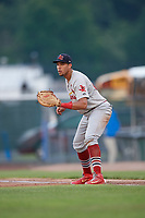 Johnson City Cardinals first baseman Dariel Gomez (25) during the second game of a doubleheader against the Princeton Rays on August 17, 2018 at Hunnicutt Field in Princeton, Virginia.  Princeton defeated Johnson City 12-1.  (Mike Janes/Four Seam Images)