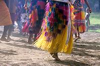 Dancers from the John Frum Cargo Cult Movement performing in traditional dress, Sulphur Bay Village, Ipekel Ipeukel, Tanna Island, Vanuatu.