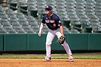 Third baseman Cody Schrier (8) during the Baseball Factory All-Star Classic at Dr. Pepper Ballpark on October 4, 2020 in Frisco, Texas.  Cody Schrier (8), a resident of San Clemente, California, attends JSerra Catholic High School.  (Ken Murphy/Four Seam Images)