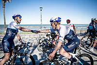 Hugo Hofstetter (FRA/Israel Start-Up Nation) & Alessandro De Marchi (ITA/Israel Start-Up Nation) happy post-finish for their teamate Mads Würtz' stage win.<br /> <br /> 56th Tirreno-Adriatico 2021 (2.UWT) <br /> <br /> ©kramon