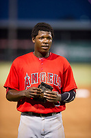 AZL Angels center fielder Johan Sala (5) walks off the field between innings of the game against the AZL White Sox on August 14, 2017 at Diablo Stadium in Tempe, Arizona. AZL Angels defeated the AZL White Sox 3-2. (Zachary Lucy/Four Seam Images)