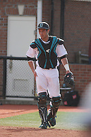 Coastal Carolina Chanticleers catcher Tucker Frawley #8 in the field during a game against the University of Pittsburgh Panthers at Watson Stadium at Vrooman Field on March 2, 2012 in Conway, SC.  Pittsburgh defeated Coastal Carolina 3-1. (Robert Gurganus/Four Seam Images)
