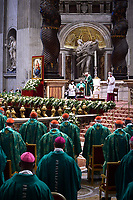 Pope Francis leads a mass for the opening of the Synod of Bishops on October 10, 2021 at St Peter's Basilica in Vatican