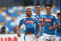 Dries Mertens of Napoli celebrates after scoring a goal Hirving Lozano of Napoli and Eljif Elmas of Napoli<br /> Napoli 14-9-2019 Stadio San Paolo <br /> Football Serie A 2019/2020 <br /> SSC Napoli - UC Sampdoria<br /> Photo Cesare Purini / Insidefoto