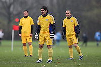 Players of Real Romania FC wait for the kick-off of their Hackney & Leyton Sunday League match in cold weather at Hackney Marshes - 30/11/08 - MANDATORY CREDIT: Gavin Ellis/TGSPHOTO - Self billing applies where appropriate - Tel: 0845 094 6026