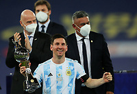 10th July 2021, Estádio do Maracanã, Rio de Janeiro, Brazil. Copa America tournament final, Argentina versus Brazil;  Lionel Messi of Argentina with trophy