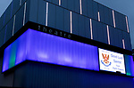 The city of Perth shows it's support for St Johnstone ahead of Saturdays Scottish Cup Final against Hibs at Hampden... 20.05.21<br />Perth theatre is pictured lit up blue and white wishing good luck to St Johnstone FC<br />Picture by Graeme Hart.<br />Copyright Perthshire Picture Agency<br />Tel: 01738 623350  Mobile: 07990 594431