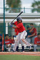 GCL Twins Jesus Feliz (1) at bat during a Gulf Coast League game against the GCL Pirates on August 6, 2019 at Pirate City in Bradenton, Florida.  GCL Twins defeated the GCL Pirates 1-0 in the second game of a doubleheader.  (Mike Janes/Four Seam Images)