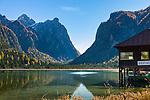 Italy, South Tyrol  (Trentino-Alto Adige), Dolomites, near Dobbiaco, (Lago di Dobbiaco) Lake Dobbiaco at Valle di Landro   Italien, Suedtirol (Trentino-Alto Adige), Dolomiten, bei Toblach, Toblacher See im Hoehlensteintal