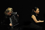 April 28, 2013, Surabaya, Indonesia - .Kanako Inoue (R), Japanese pianist, performing in classical music concert title Around the World, collaborating with Pieternel Berkers (L) (Dutch accordion) at Cak Durasim building. (Photo by Robertus Pudyanto/AFLO)