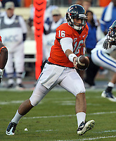 CHARLOTTESVILLE, VA- NOVEMBER 12: Quarterback Michael Rocco #16 of the Virginia Cavaliers hands off the ball during the game against the Duke Blue Devils on November 12, 2011 at Scott Stadium in Charlottesville, Virginia. Virginia defeated Duke 31-21. (Photo by Andrew Shurtleff/Getty Images) *** Local Caption *** Michael Rocco