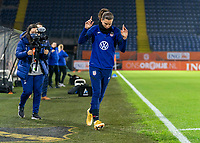 BREDA, NETHERLANDS - NOVEMBER 27: Tobin Heath #17 of the USWNT steps onto the field before a game between Netherlands and USWNT at Rat Verlegh Stadion on November 27, 2020 in Breda, Netherlands.