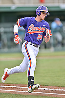Clemson Tigers right fielder Seth Beer (28) runs to first base during a game against the Maine Black Bears at Doug Kingsmore Stadium on February 20, 2016 in Clemson, South Carolina. The Tigers defeated the Black Bears 9-4. (Tony Farlow/Four Seam Images)