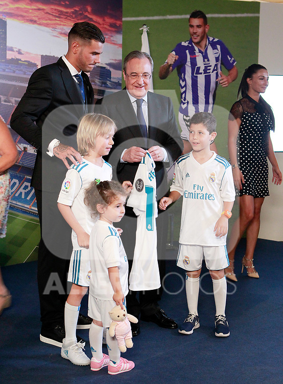 Real Madrid's President Florentino Perez with his grandchildren, the new player of the club Theo Hernandez and his girlfriend Adriana Pozueco. July 10, 2017. (ALTERPHOTOS/Acero)