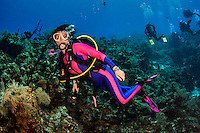 20 June 2016: SCUBA Diver Sally Herschorn explores the reef adjacent the Wreck of the Doc Poulson off the shores of 7-Mile Beach on the West side of Grand Cayman Island. Located in the British West Indies in the Caribbean, the Cayman Islands are renowned for excellent scuba diving, snorkeling, beaches and international banking.  Mandatory Credit: Ed Wolfstein Photo *** RAW (NEF) Image File Available ***