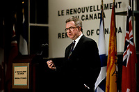 FILE PHOTO - Federal minister  Joe Clark (R) attend a conference on Canada's constitution, May, 22, 1992.<br /> <br /> Photo : Pierre Roussel - Agence Quebec Presse