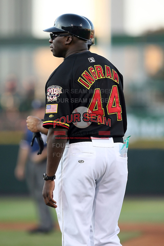 July 1st 2008:  First base coach Riccardo Ingram of the Rochester Red Wings, Class-AAA affiliate of the Minnesota Twins, during a game at Frontier Field in Rochester, NY.  Photo by:  Mike Janes/Four Seam Images