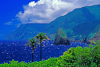 View of northern coast cliffs and Okala Island, viewed from Kalawao, Kalaupapa Peninsula, Molokai