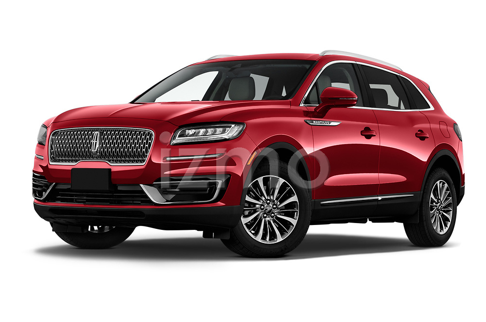Stock pictures of low aggressive front three quarter view of 2020 Lincoln Nautilus Base 5 Door SUV Low Aggressive