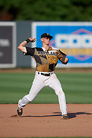 Aberdeen IronBirds third baseman Toby Welk (16) throws to first base during a NY-Penn League game against the Vermont Lake Monsters on August 18, 2019 at Leidos Field at Ripken Stadium in Aberdeen, Maryland.  Vermont defeated Aberdeen 6-5.  (Mike Janes/Four Seam Images)